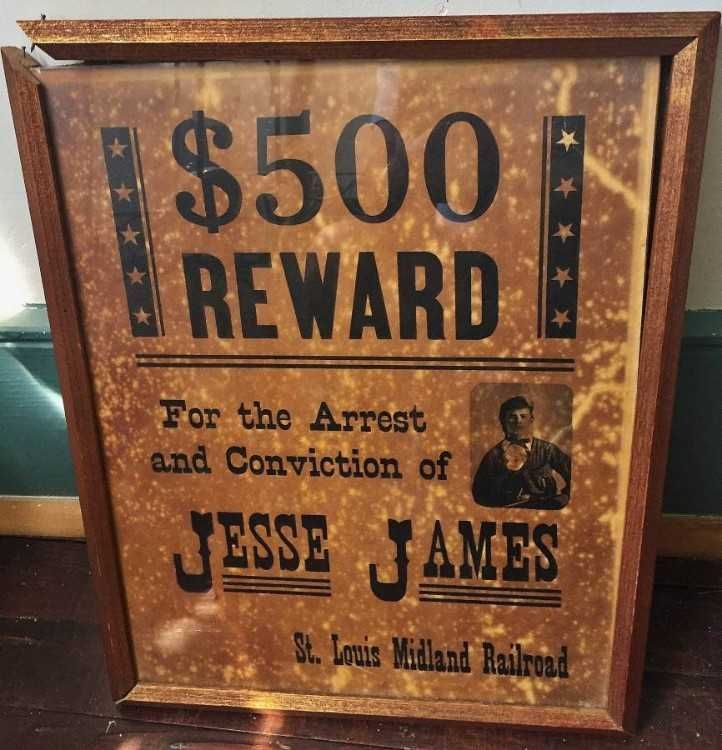 framed 1873 jesse james wanted poster issued by st louis midland railroad 0d