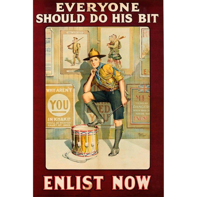 original british wwi recruitment poster everyone should do his bit enlist now for sale