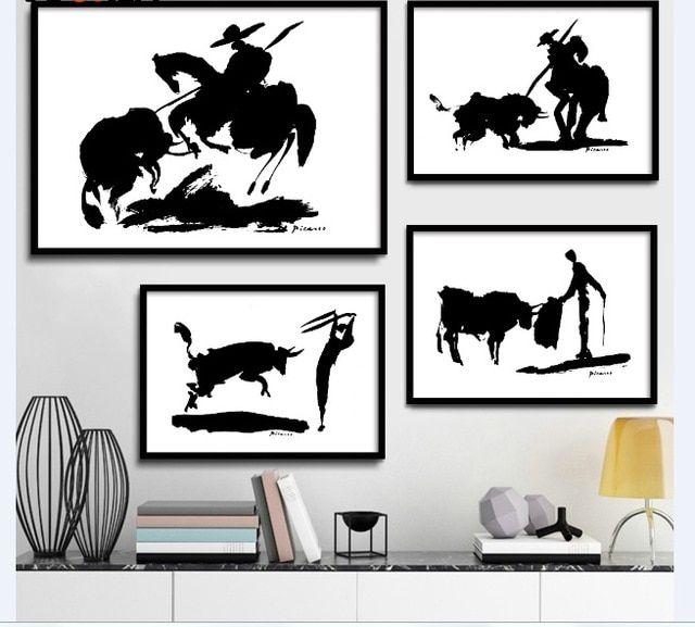 pablo picasso matador spanyol minimalis hitam putih penuh ukuran poster kanvas lukisan dinding gambar wall decor